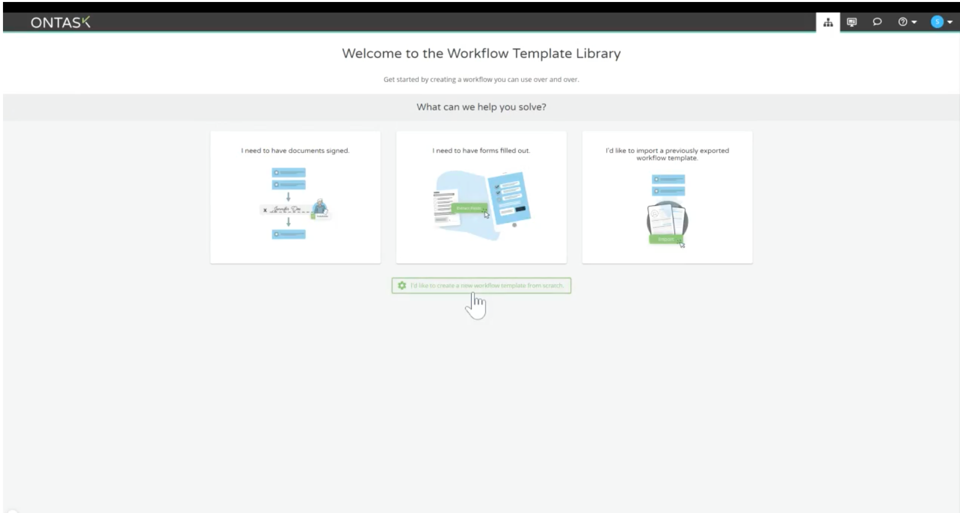 main Workflow Template Library screen